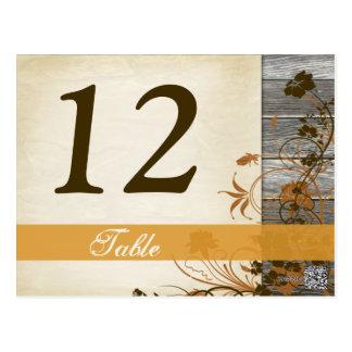 Herbst-Blumen, IMITAT hölzerne Tischnummer-Postkar Postkarten