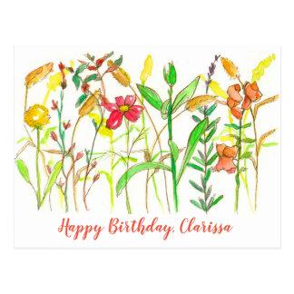 Herbst-botanische Blumen-alles Gute zum Geburtstag Postkarte