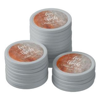 Herbst-danken orange graue Aquarell-Hochzeit Ihnen Poker Chips