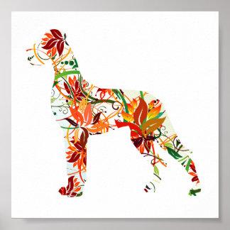 Herbst-Deutsche Dogge Plakatdruck