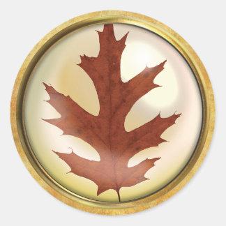 Herbst-Eichen-Blatt-Rost Runder Aufkleber