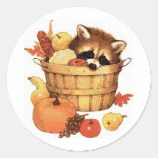 Herbst-Erntedankracoon-Aufkleber Runder Aufkleber