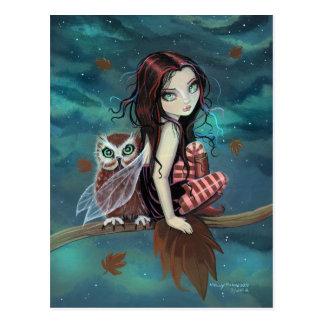 Herbst-Eulen-gotische Fantasie-Fee und Eulen-Postk