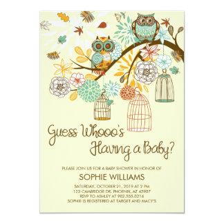 Herbst-Eulen-und Vogelkäfig-Babyparty 12,7 X 17,8 Cm Einladungskarte