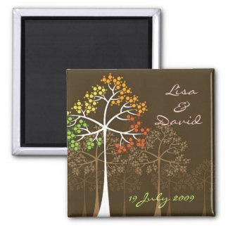 Herbst-Fall-Baum-Waldland, das Save the Date Quadratischer Magnet