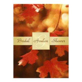 Herbst-Fall-Blatt-Brautparty-Monogramm-Einladung