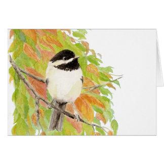 Herbst, Fall, Chickadee, Vogel-Natur Karte