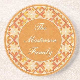 Herbst-Familienname-dekorativer Sandstein Untersetzer