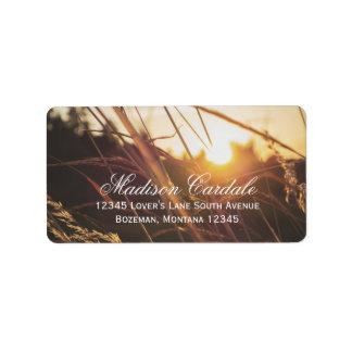 Herbst-Feld-Sonnenuntergang-Hochzeit im Adressaufkleber
