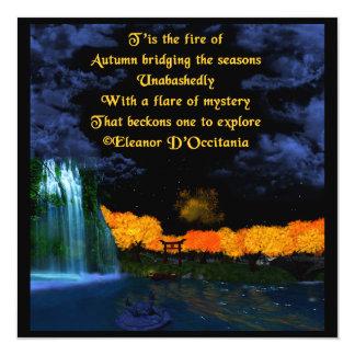 """Herbst flammt Poesie-Einladung 5,25"""" x 5,25"""" Karte"""