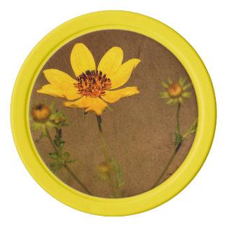 Herbst-gelbe Blumen-Poker-Chips Poker Chip Set