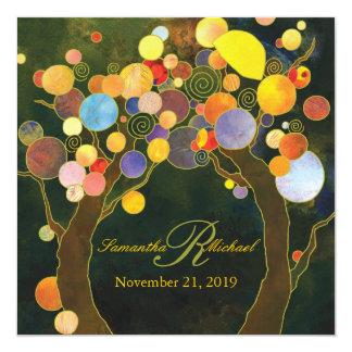 Herbst-Glücks-rustikale Baum-Thema-Hochzeit Quadratische 13,3 Cm Einladungskarte