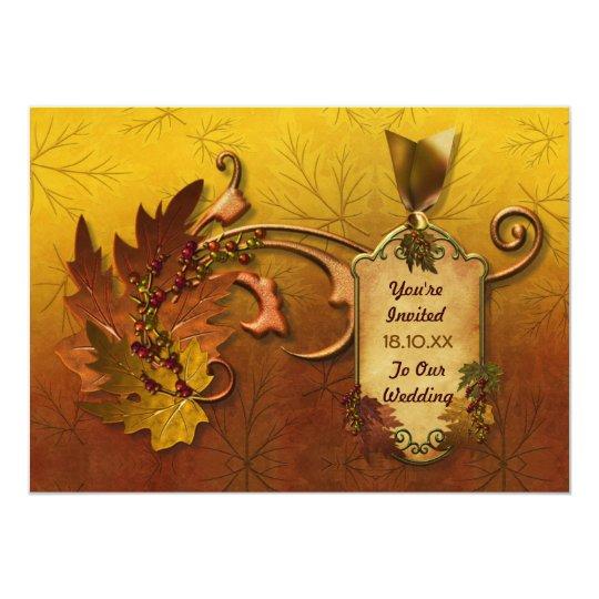 Herbst-Gold verlässt Hochzeit 12,7 X 17,8 Cm Einladungskarte