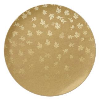 Herbst-Gold verlässt Muster Melaminteller