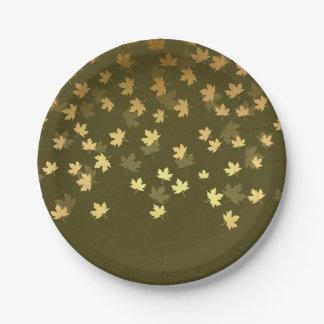 Herbst-Gold verlässt Muster Pappteller