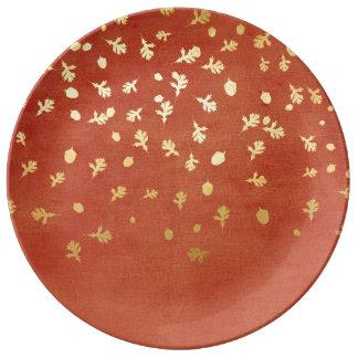 Herbst-Gold verlässt Muster Porzellanteller