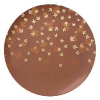 Herbst-Gold verlässt Muster Teller