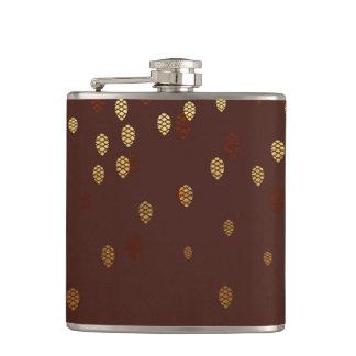 Herbst-GoldBlätter/Pinecone Muster Flachmann