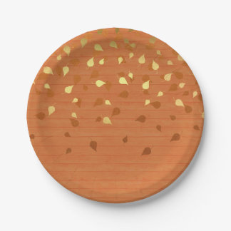 Herbst-GoldBlätter/Pinecone Muster Pappteller