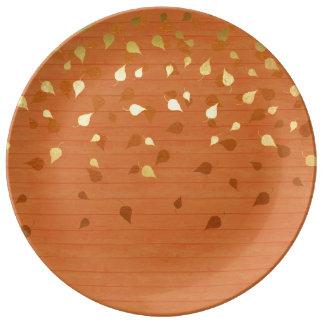 Herbst-GoldBlätter/Pinecone Muster Porzellanteller