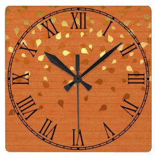 Herbst-GoldBlätter/Pinecone Muster Quadratische Wanduhr
