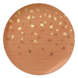 Herbst-GoldBlätter/Pinecone Muster Teller