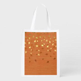 Herbst-GoldBlätter/Pinecone Muster Wiederverwendbare Einkaufstasche