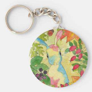 Herbst-Häschen durch Pfefferminz-Kunst Standard Runder Schlüsselanhänger