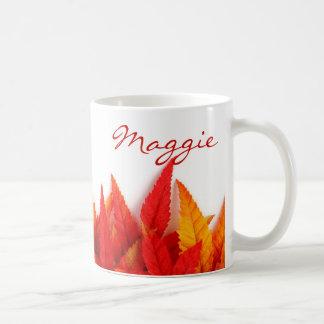 Herbst, Herbstlaub. orange, rot, gelb, hell Tasse