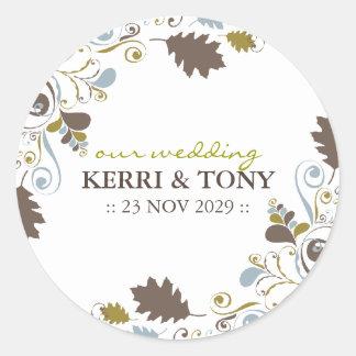 Herbst-Herbstlaub-Wirbel, der Aufkleber Wedding