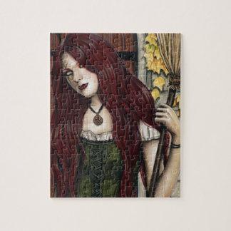 Herbst-Hexe-gotisches Fantasie-Kunst-Puzzlespiel Puzzle