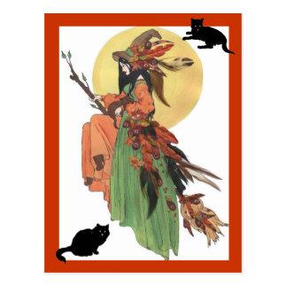 Herbst-Hexe Postkarte