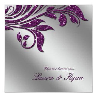 Herbst-Hochzeit laden Schein-Blatt-lila Silber ein Karte
