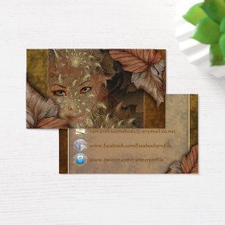 Herbst-hölzerne Nymphen-Visitenkarten Visitenkarte