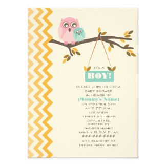 Herbst-Jungen-Babyparty-Mama u. Baby-Eule 14 X 19,5 Cm Einladungskarte