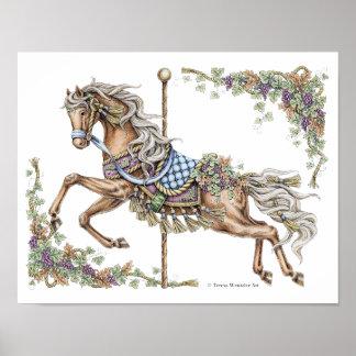 Herbst-Karussell-Pferdezeichnendes Federplakat Poster