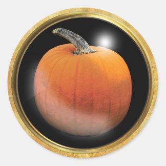 Herbst-Kürbis-Orange Runder Aufkleber