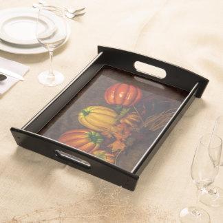 Herbst-Kürbis-Serviertablett - Schwarzes oder Holz Tablett