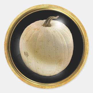 Herbst-Kürbis-Weiß Runder Aufkleber