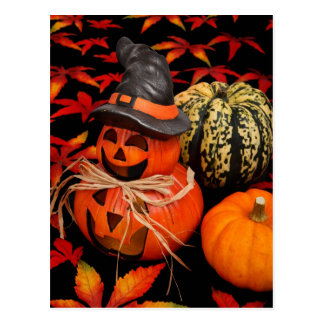 Herbst-Kürbislaterne Postkarte