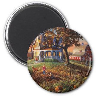 Herbst-Land-Szene Runder Magnet 5,7 Cm