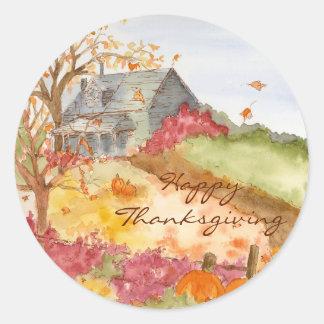 Herbst-Land-Zuhause-glücklicher Erntedank Runder Aufkleber