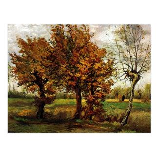 Herbst-Landschaft mit vier Bäumen durch Van Gogh Postkarte