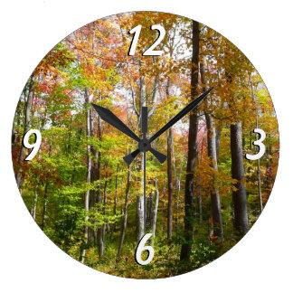 Herbst-Landschaftsphotographie des Fall-Waldi Große Wanduhr