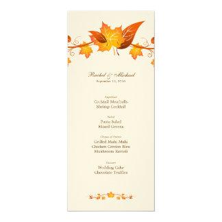 Herbst-Laub-Hochzeits-Menü-Karte 10,2 X 23,5 Cm Einladungskarte