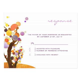 Herbst-Liebe-Baum-lila Hochzeit UAWG Postkarten