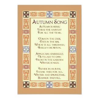 Herbst-Lied-Erntedank-Gedicht-persönliche 12,7 X 17,8 Cm Einladungskarte