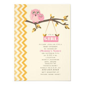 Herbst-Mädchen-Babyparty-Mama u. Baby-Eule 14 X 19,5 Cm Einladungskarte