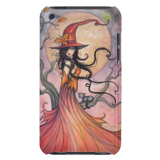 Herbst-magische Fantasie-Hexe-und Katzen-Kunst Barely There iPod Cover