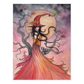 Herbst-magische Hexe-und Katzen-Fantasie-Halloween Postkarten
